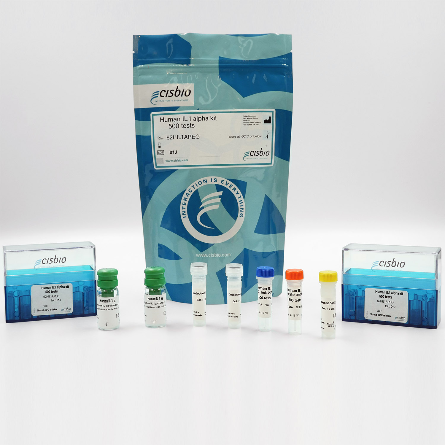 Photography of the Human IL1 alpha kit and components