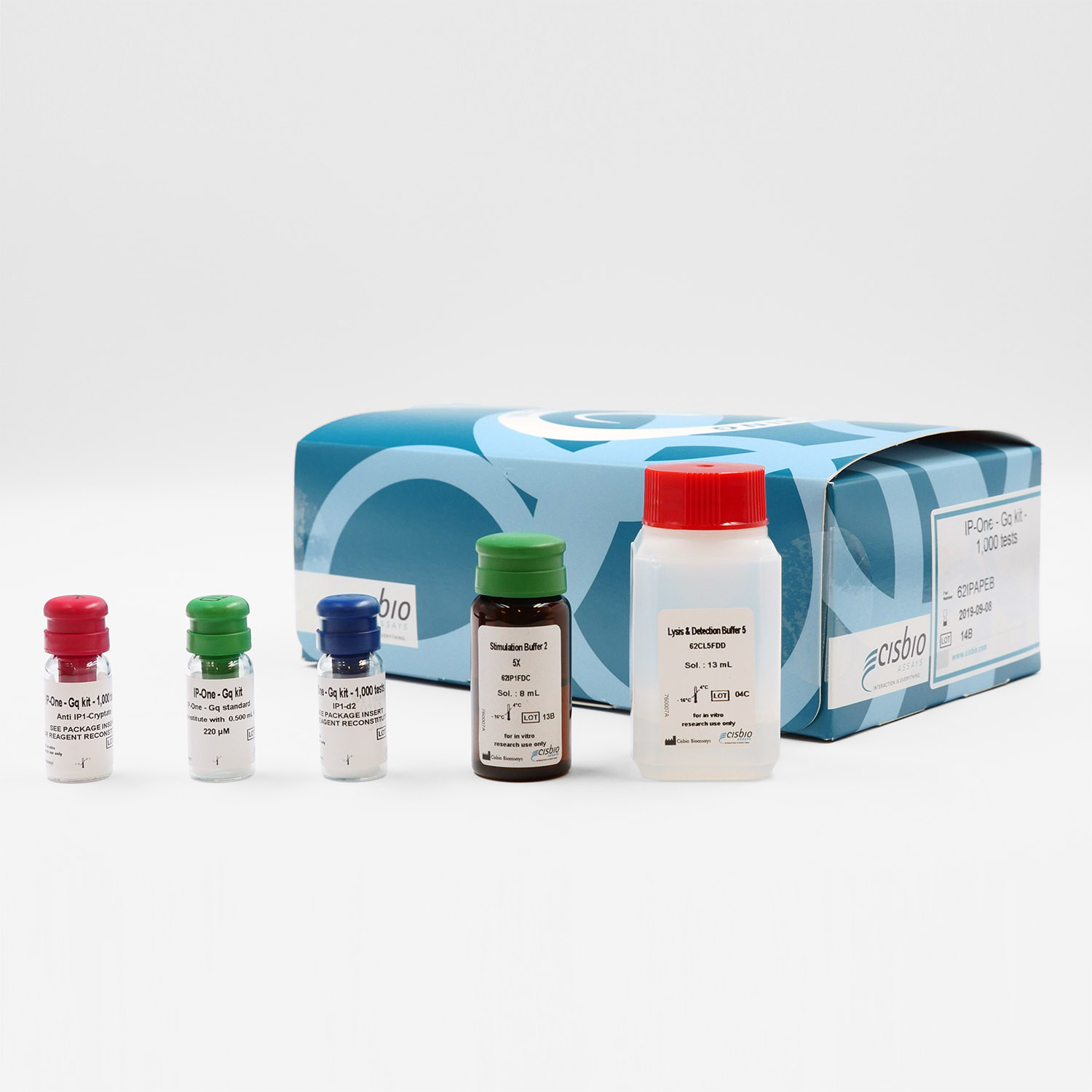 Photography of IP-One Gq assay kit and components